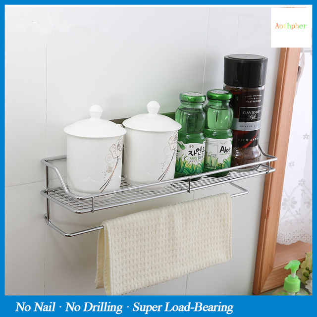 Aothpher Steel 40CM Bathroom Self Adhesive Wall Storage Rack Multi  Functional Strong Suction For Bathroom
