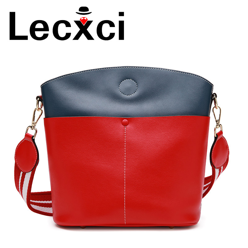 Lecxci 2018 new female bag bucket bag leather handbags large-capacity leather simple hit color shoulder diagonal trend handbag 2017 new women genuine leather bucket handbag fashion panelled color large capacity female single shoulder bag bbh1346