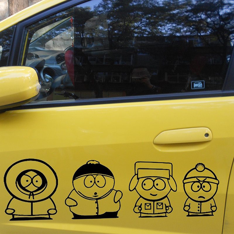 length:25cm 4pcs Funny JDM South Park For Car Sticker For Cars Door Side Rear Windshield And Wall Vinyl Decal 8 Colors horse riding sticker for car rear windshield truck suv bumper auto door laptop kayak canoe art wall die cut vinyl decal 8 colors