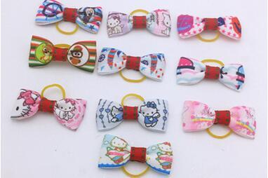 02228457d 100pcs/lot Big sale Cartoon hello kitty Handmade Pet Dog Grooming Hair Bow  with Elastic Rubber Band G05