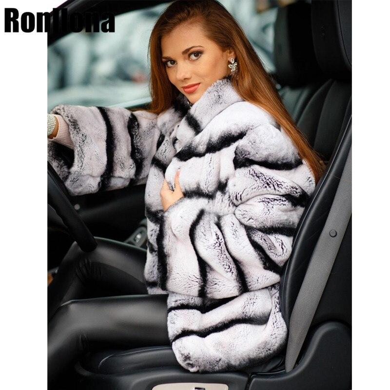 Nouveau Vrai Chinchilla Rex Manteau De Fourrure De Lapin Avec Col Mao Grande Taille Veste Pour Femmes Véritable Lapin Manteau D'hiver Naturel RB-009