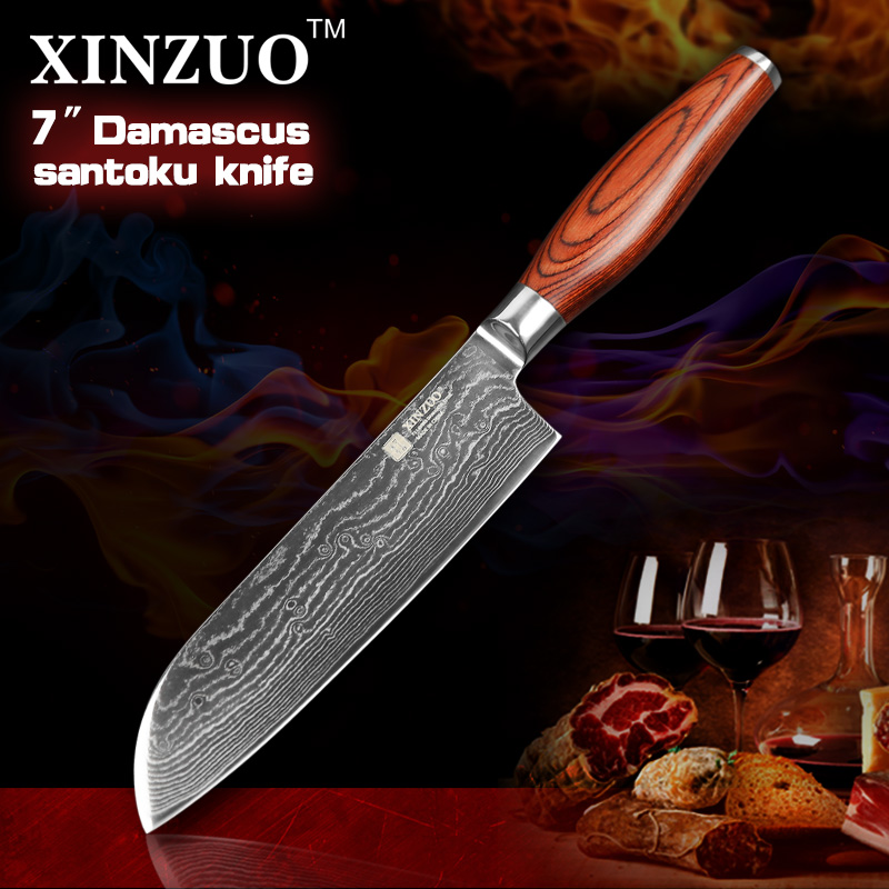 XINZUO 7 inch chef font b knife b font Japanese VG10 Damascus steel kitchen font b