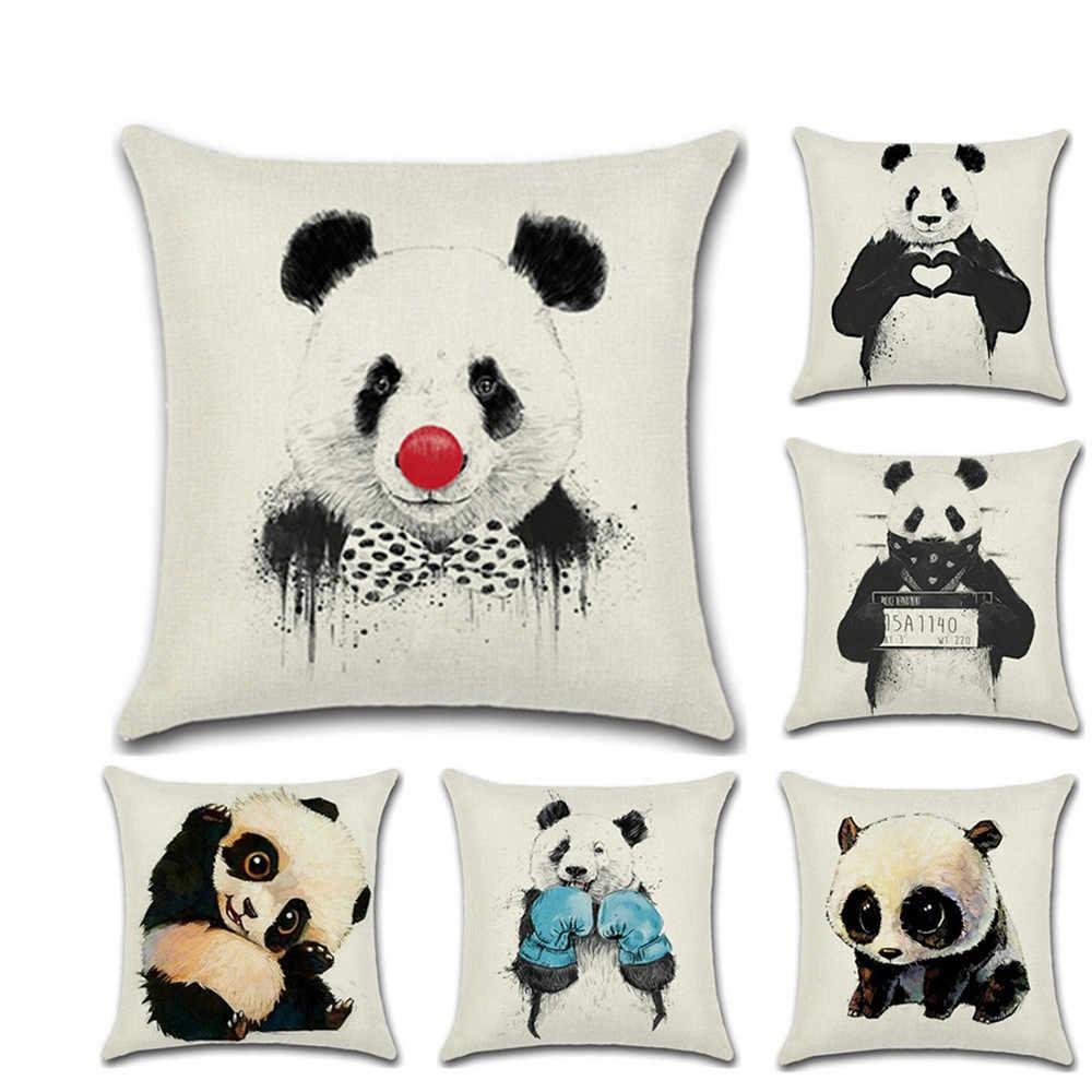新ラブリー愛のパンダシリーズかわいい枕ケースクッションカバーリネンコットンスロー枕用