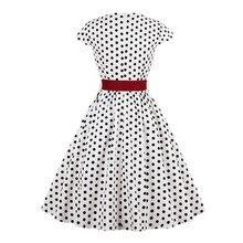 Polka Dot Print Dress Cap Sleeve Plus Size Black White  Summer Women  Vintage Rockabilly Pin Up Ankle-Length Women Dress retro color block polka dot pin up dress