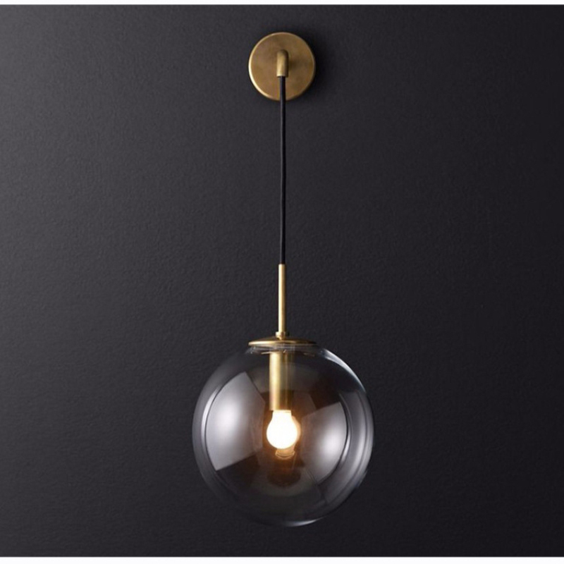 Minimalist Round Glass Ball Restaurant Bistro LED Sconce Wall Lamp For Hotel Bedside Decorative Glass Wall Sconce LED LightingMinimalist Round Glass Ball Restaurant Bistro LED Sconce Wall Lamp For Hotel Bedside Decorative Glass Wall Sconce LED Lighting