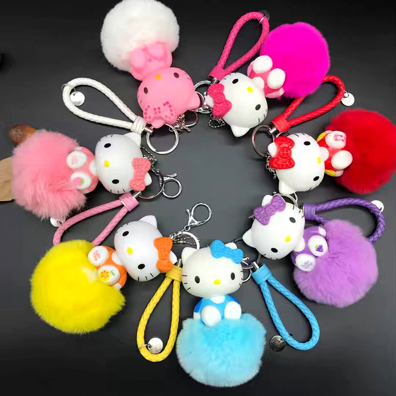 Pom Pom Anime Keychain Cartoon Hello Kitty Keychain Fluffy Rabbit Fur Key Chain Ring Holder Women Bag Car Charm Pompom Keyring