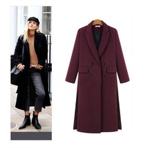 Always Trending Double Breasted Extra Long Design Woolen Jacket, Women's Fall/Winter Fashion Wool Jackets