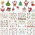 12 листов переводные наклейки для ногтей украшения для ногтей инструменты для маникюра Рождественская елка Санта-Клаус Снеговик Дизайн