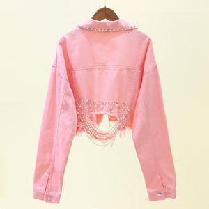 Image 2 - Autumn Streetwear Pink White Womens Jeans Jacket Coat Beading Hole Short Female Denim Jackets Long Sleeve Loose Cowboy Outwear