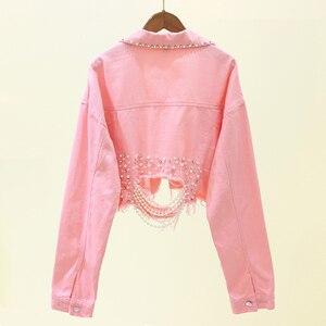 Image 2 - Herfst Streetwear Roze Vrouwen Witte Jeans Jasje Kralen Gat Korte Vrouwelijke Denim Jassen Lange Mouwen Losse Cowboy Uitloper