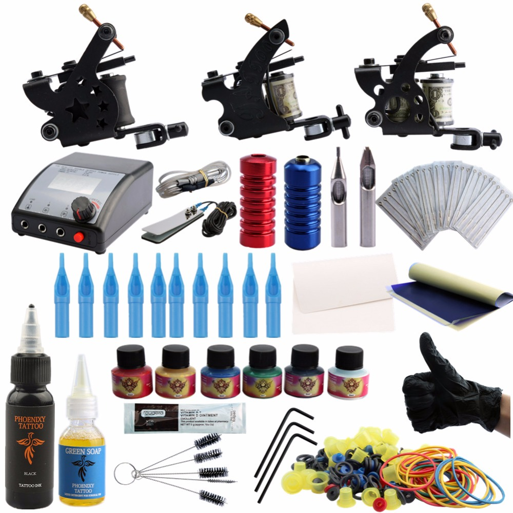 Professional Tattoo Kits Top Artist Complete Set 3 Tattoo Machine Gun Lining And Shading Tattoo Inks Power Needles Tattoo Supply europe god of darkness robert recommend gp self lock grips gp3 professional tattoo artist grip