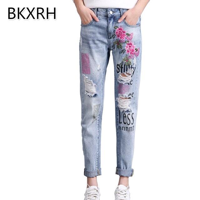Bkxrh إمرأة الجينز مع الزهور والتطريز ممزق صديقها الجينز للنساء المتناثرة الطباعة pantalon فام تمتد السراويل