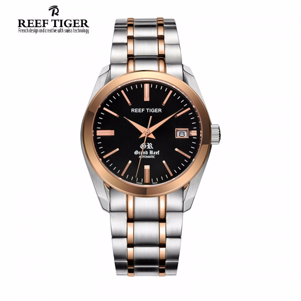 Reef Tiger/RT Business Casual Watches with Date Self Winding Watches for Men Automatic Two Tone Watches RGA818 2x yongnuo yn600ex rt yn e3 rt master flash speedlite for canon rt radio trigger system st e3 rt 600ex rt 5d3 7d 6d 70d 60d 5d