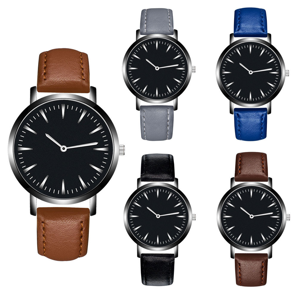 Saatleri Fashion 2018 Men Leather Band Analog Quartz Round Wrist Watch Watches Wristwatch Clock Gift New Luxury Dropshipping super speed v0169 fashionable silicone band men s quartz analog wrist watch blue 1 x lr626