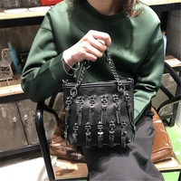 BENVICHED Bucket bag 2019 women's new Korean handbag fashion personality tassel small bag joker chain shoulder bag c109
