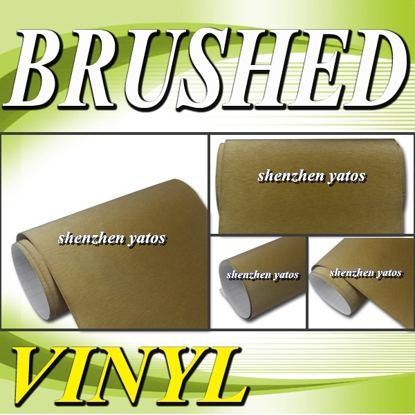 Gold  Brushed Aluminium pvc car sticker   With 3M  bubbles 1.52x30M