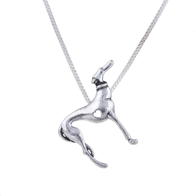 Statement Greyhound Necklace Heart Pendant Whippet Dog Jewelry Women Necklace Charm Choker Halloween Gift