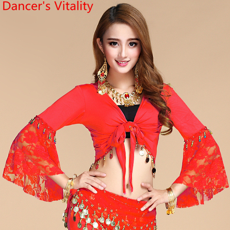 New Belly Dance Top Lace Belly Dance Flared Sleeve Cut Out Bandage Top Oriental Dance Training Top Indian Dance Clothes Costumes