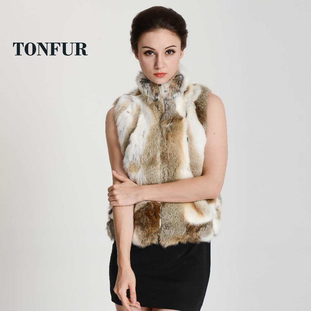 2019 New Arrival Real Rabbit Fur Vest Zipper Fur Vest Lady female winter vest fashion free shipping DHP400