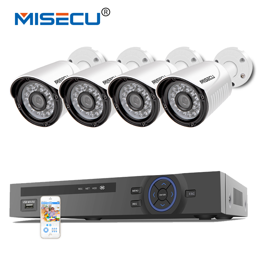 MISECU 4CH 1080P POE NVR 2 0mp 15V PoE Camera Hi3516C 1080P Full HD P2P HDMI