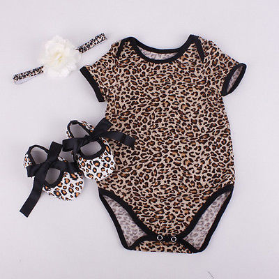 Cute Toddler Baby Girl Cotton Floral Leopard Bodysuit+Shoe+Hairband 3pcs Outfits Set Summer Newborn Baby Girl Clothes 3pcs set newborn infant baby boy girl clothes 2017 summer short sleeve leopard floral romper bodysuit headband shoes outfits