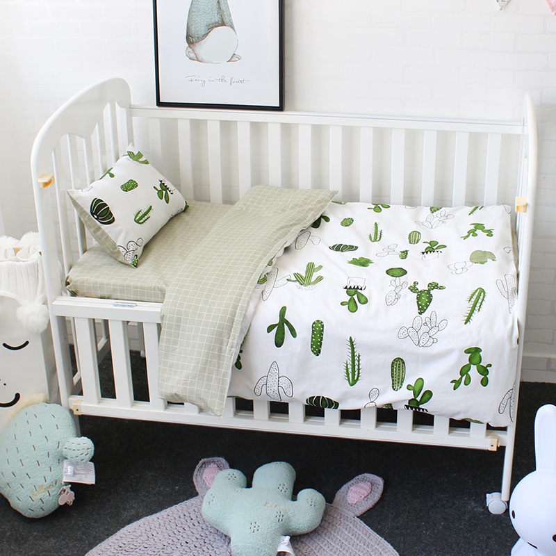 3 Pcs Set Baby Bedding Set Pure Cotton Flamingo Grey Cloud Pattern Crib Kit Including Pillowcase Duvet Cover Cot Flat Sheet 2 0m 4pcs flamingo print striped duvet cover set