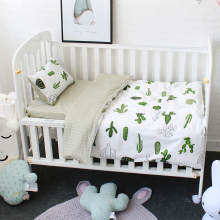 3 stk sæt baby sengetøj sæt ren bomuld flamingo grå cloud mønster krybbe kit herunder pudebetræk dynebetræk barneseng fladt ark