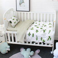 3 Pcs Set Baby Bedding Set Pure Cotton Flamingo Grey Cloud Pattern Crib Kit Including Pillowcase Duvet Cover Cot Flat Sheet