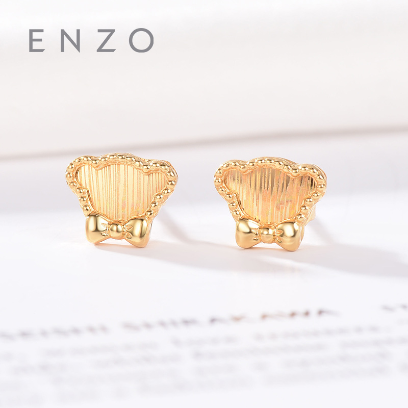Enzo Pure 18K Gold Earring Bear Jewelry Women Miss Girls Gift Party Female Stud Earrings Solid Hot Sale New Good Trendy real 18k gold jewelry heart earring women miss girls gift party female ear wire drop earrings solid hot sale new good trendy
