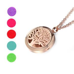 Image 3 - Top Sale Fashion Tree of Life 20mm/25mm/30mm Perfume Locket 316L Stainless Steel Essential Oil Diffuser Locket Pendant Necklace