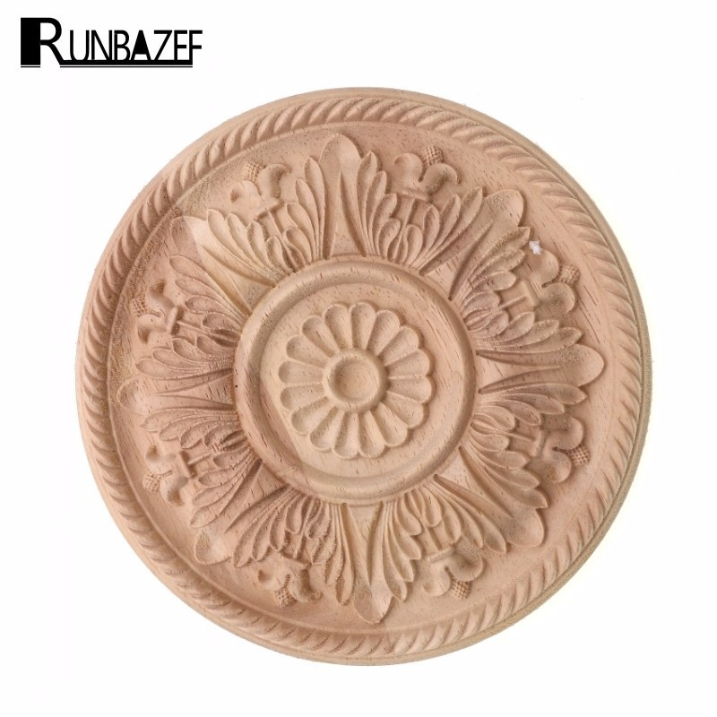 RUNBAZEF Round Real Wood Applique Flower Jewelry Cabinet Decoration Home Decor Furnishing European Style Carved Wooden Tablets