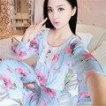 2017 Primavera Outono 100% Algodão Mulheres Pijamas Conjuntos de Roupas Sleepcoat & Calças Lady Floral Sleepwear Fêmea Home Tamanho 2XL