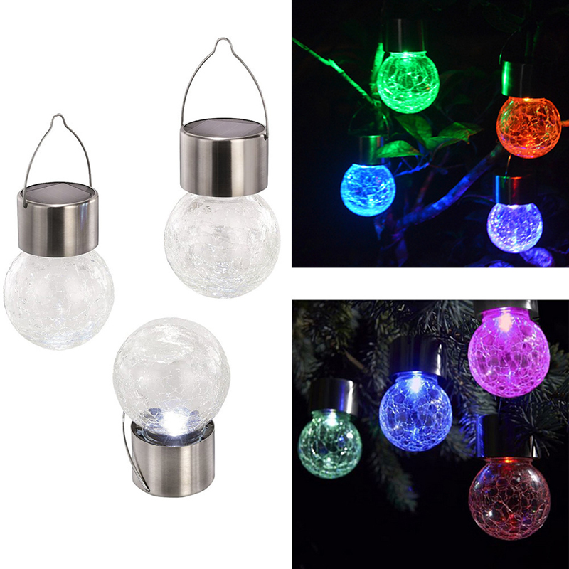 Globe Sloar Lantern Outdoor Garden Light Color Change Crack Ball Glass LED Hanging Lights Patio Lamp For Christmas Party Tree