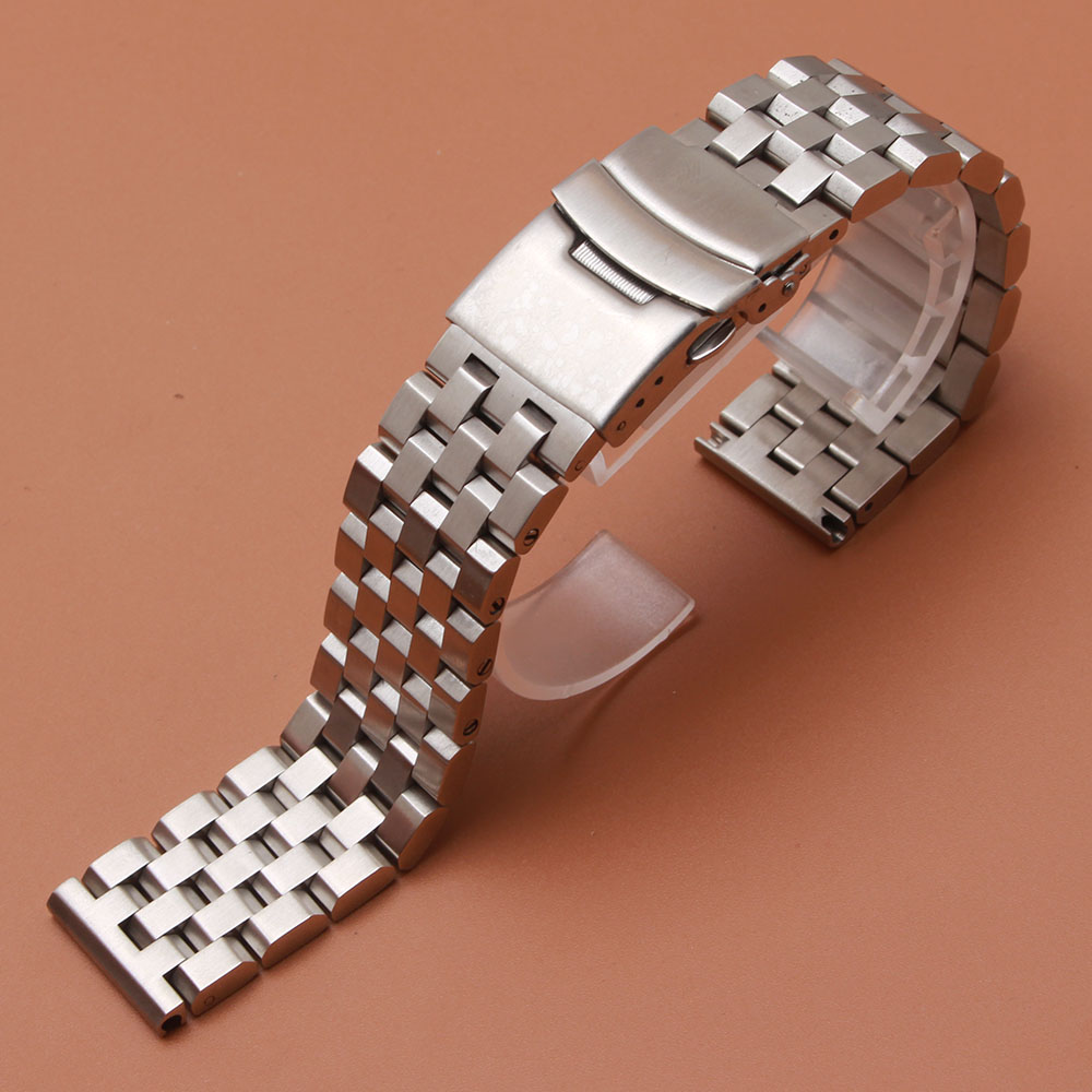 Stainless steel watchband Silver Black metal Matte Watch Accessories High Quality 18mm 20mm 22mm 24mm 26mm