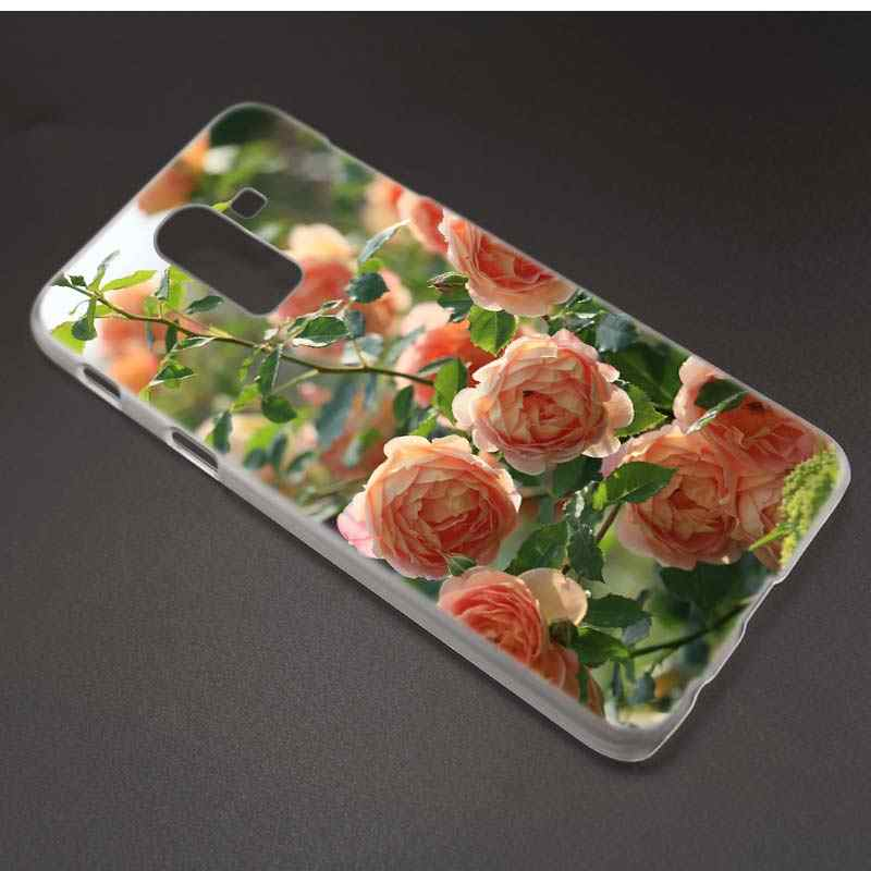 Rose ดอกไม้โลตัสสำหรับ Samsung Galaxy A6 A8 Plus 2018 J4 J6 J8 2018 Clear PC Hard พลาสติก Coque ฝาครอบ Fundas Capa Shell Hot