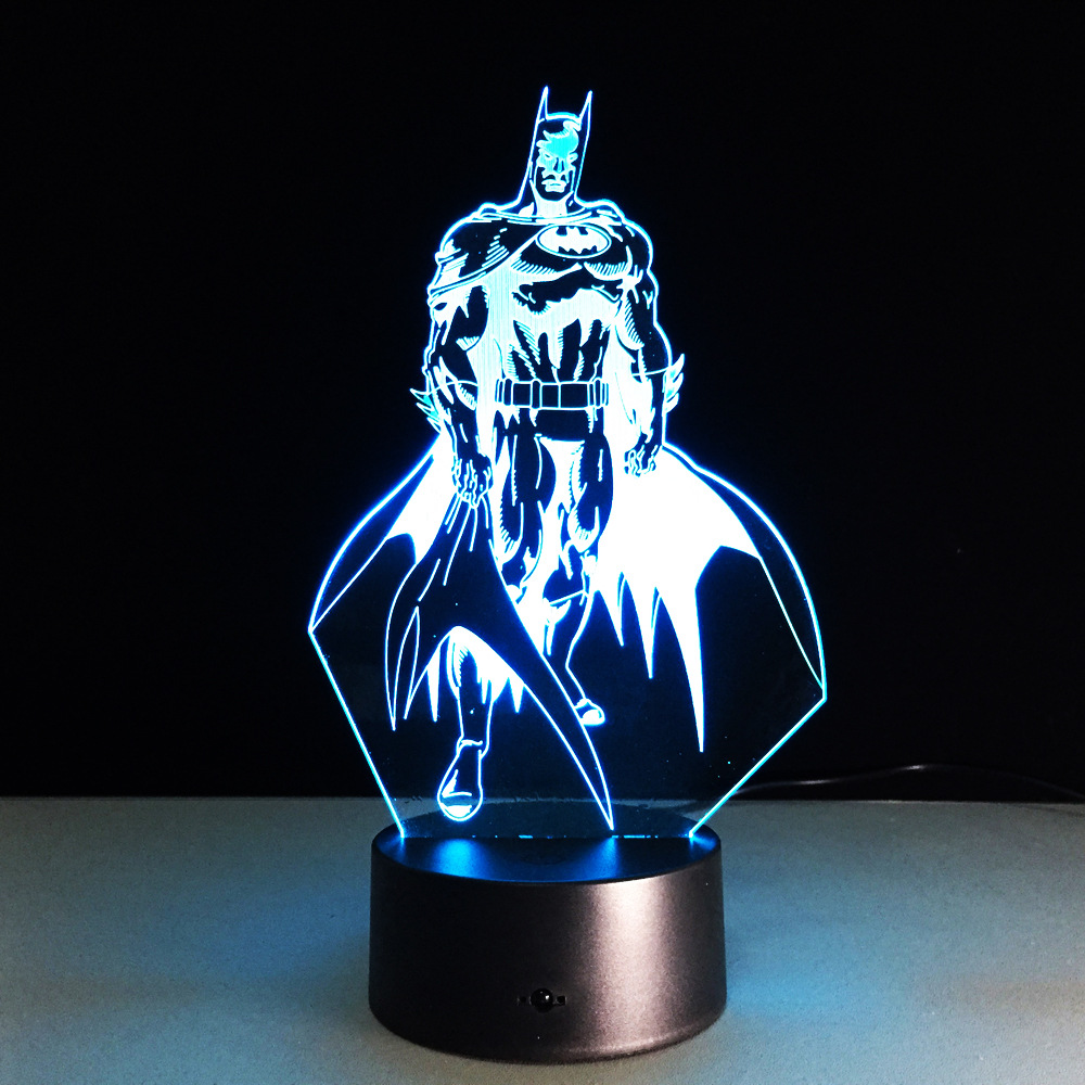 Batman Shape Acrylic Night Light 3D Stereo Vision Lamp 7 Colors Changing USB Bedroom Bedside Night light Creative Gifts spiderman shape night light 3d stereo vision lamp acrylic 7 colors changing usb bedroom bedside night light creative desk lamp