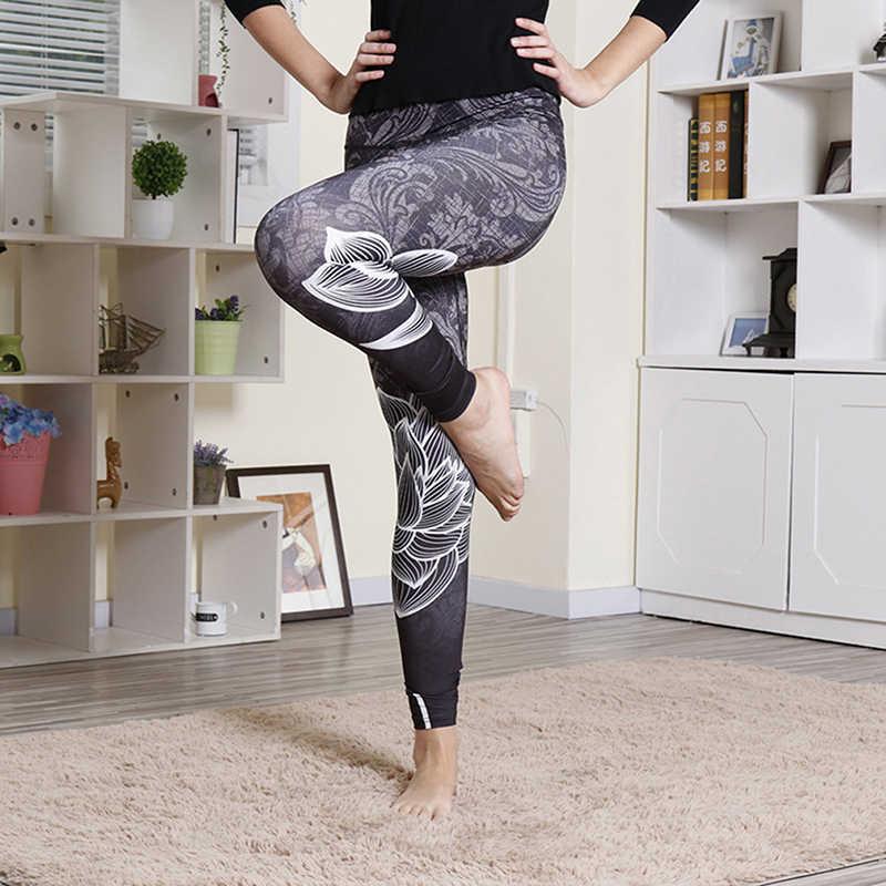 Fashion High Waist Leggings Lotus Leaf Printed Female Leggins Women Compression Fitness Pants Ladies Leggins