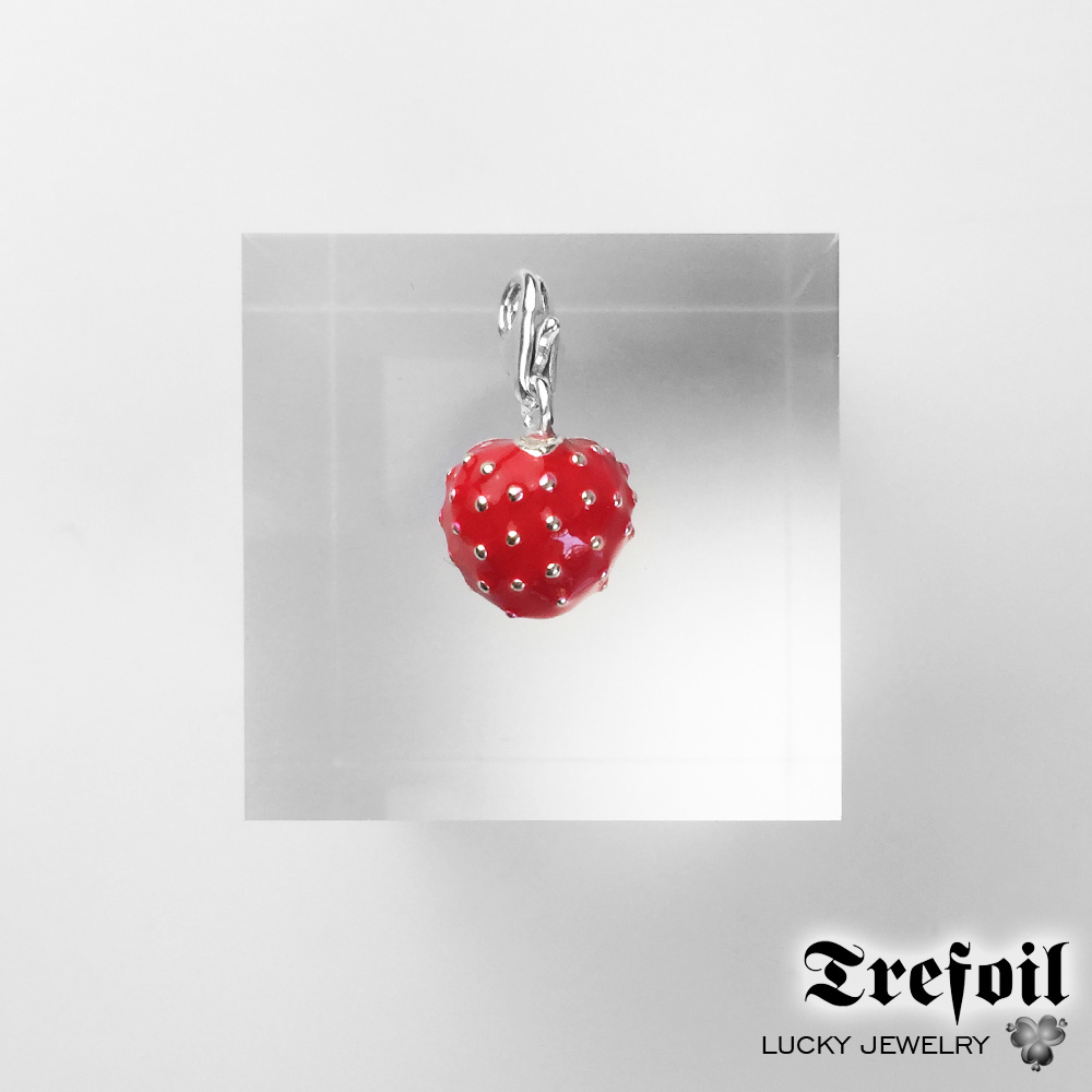 Red Strawberry Charms Pendant, Fashion Jewelry 925 Sterling Silver Gift For Women Men Boy Girls Fit Bracelet Necklace Bag 2018