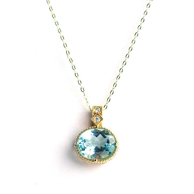 Ruifan luxe 10*12mm naturel bleu ciel topaze pendentif collier 18K or 925 Sterling argent tour de cou colliers pour les femmes YNC079