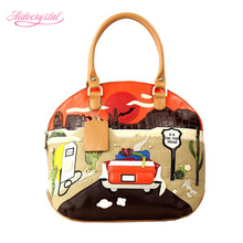 Aidocrystal 2016 new fashion retro bag handmade embroidery Route 66 pattern handbag women bag free shipping