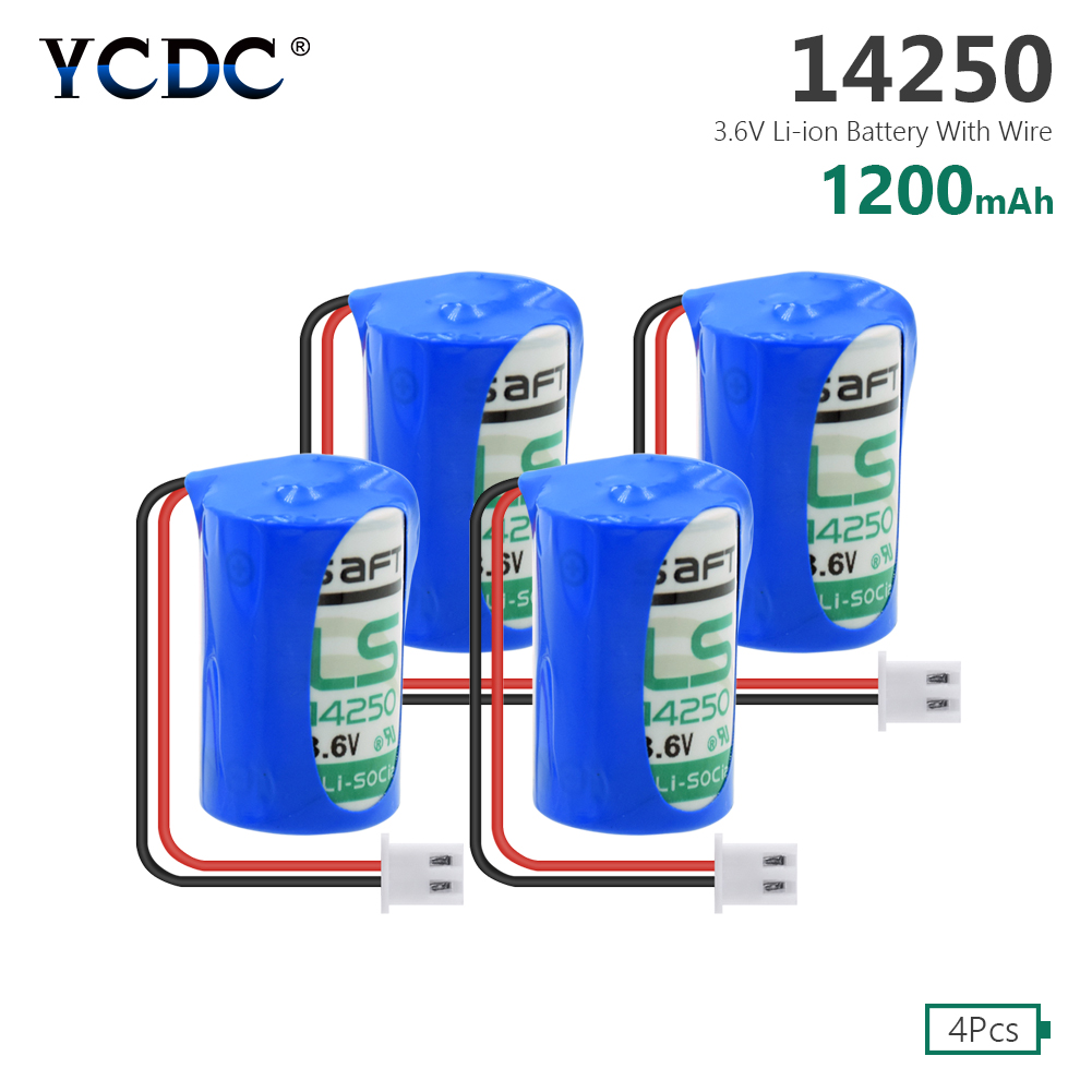 YCDC 4pcs <font><b>1/2AA</b></font> Size Lithium Backup Battery 3.6V 14250 SL350 L14250 With Connector Plug image