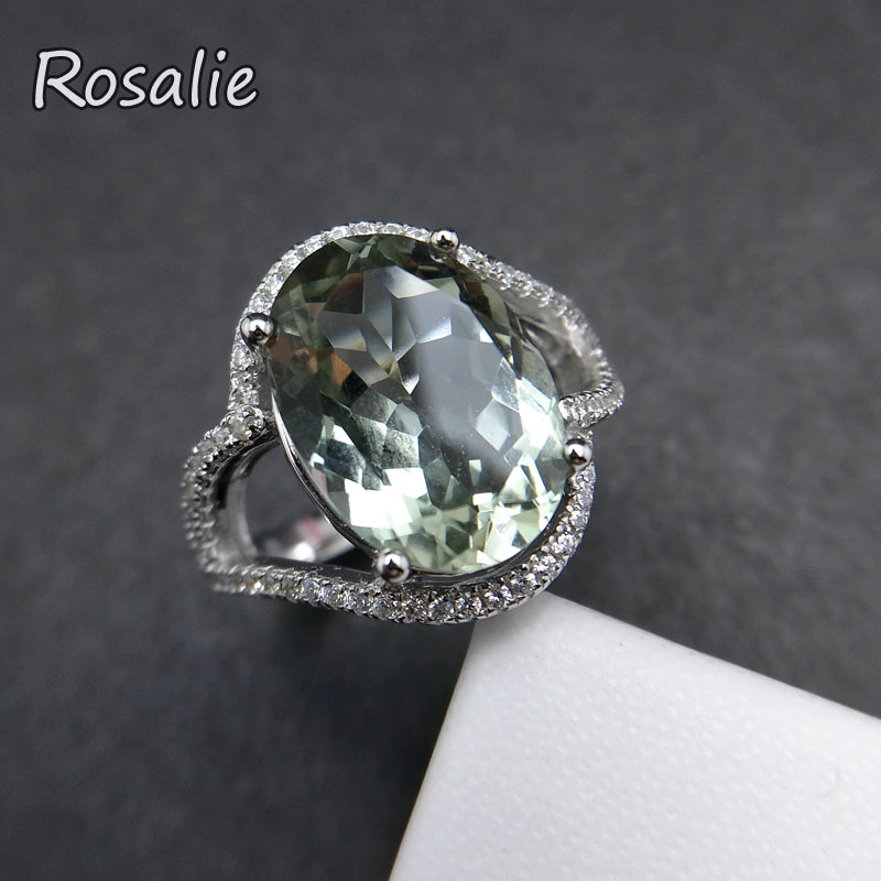 Rosalie,2018 new design rings with Natural Green amethyst quartz oval 10*14mm gemstone Ring solid 925 sterling silver for women