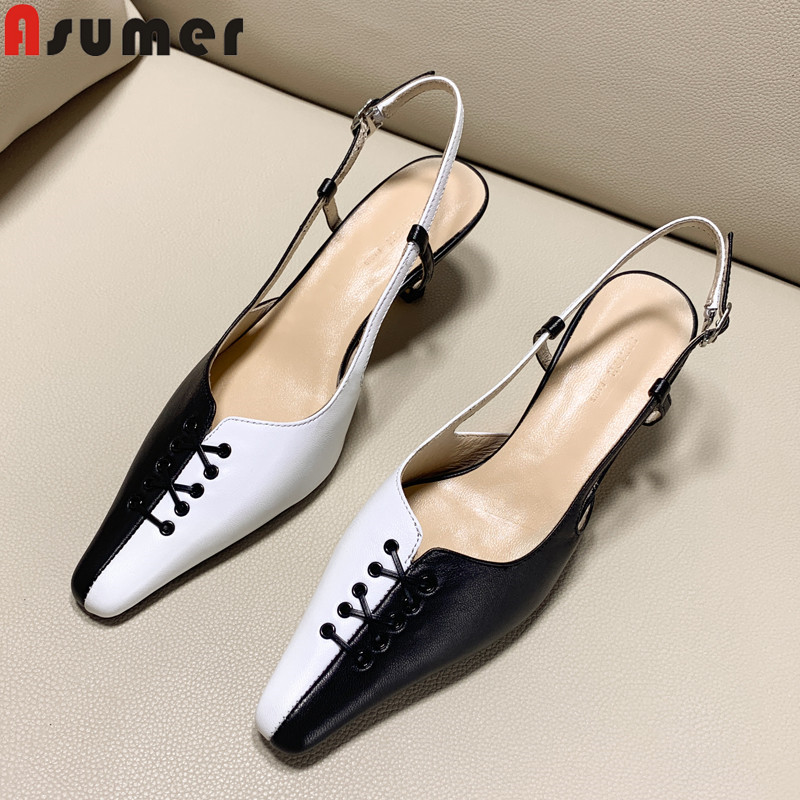 ASUMER 2019 new pumps shoes women square toe buckle genuine leather shoes mixed colors high heels dress office shoes womenASUMER 2019 new pumps shoes women square toe buckle genuine leather shoes mixed colors high heels dress office shoes women