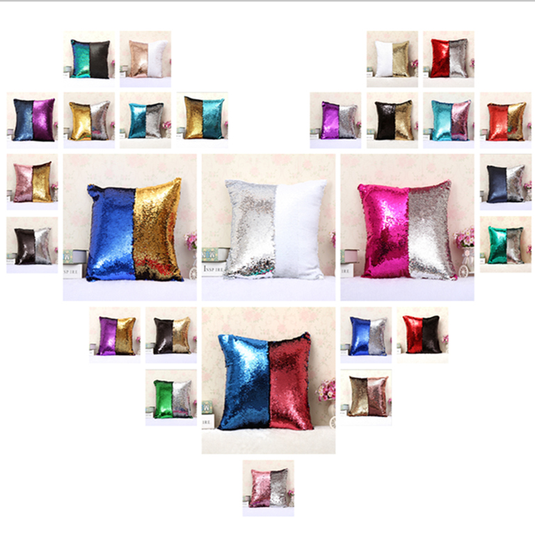 Fashion Personality Chameleon Pillowcase Adjustable Mermaid Two Color Sequin Mosaic Decorative Cushion Cover Pillow Home Decor