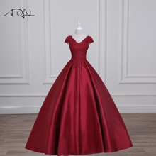 ADLN V-neck Cap Sleeve Red Evening Dresses with Appliques Satin Long Prom Gown Formal Party Wear Vestidos de Festa
