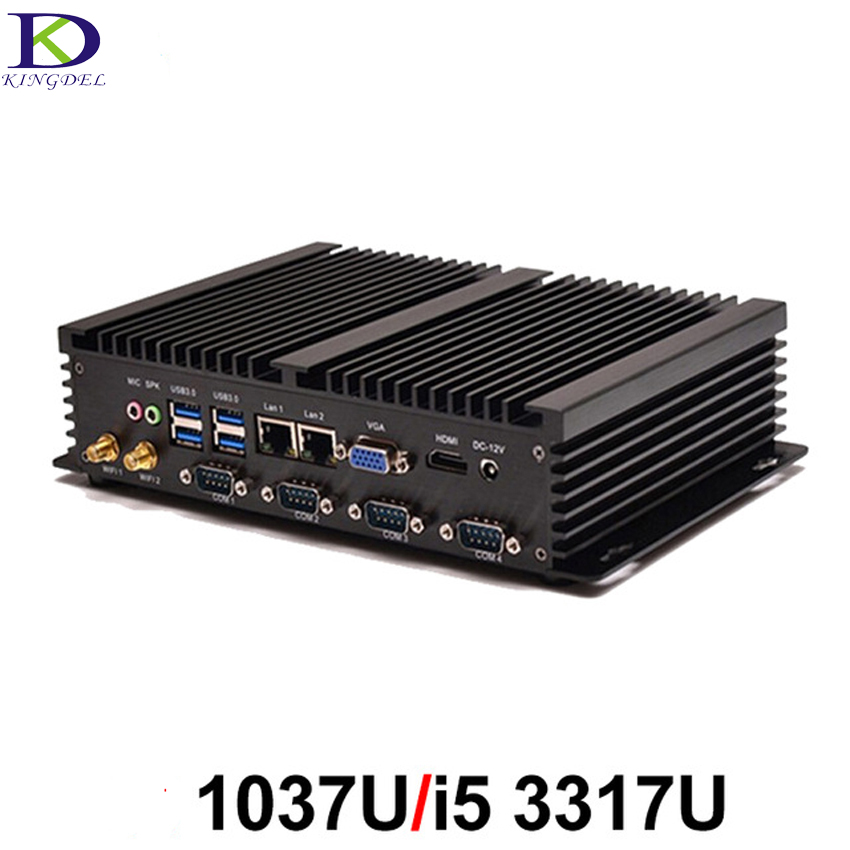 Fanless PC Industrial Computer With USB3.0 Dual Gigabit LAN 4COM VGA HDMI Auto Boot Intel Celeron C1037U Core I5 3317U,Windows10