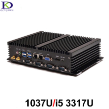 Fanless PC 4COM Промышленного Компьютера с USB3.0 Двойной Gigabit LAN VGA HDMI Авто Загрузки Intel Celeron C1037U Core i5 3317U, Windows10