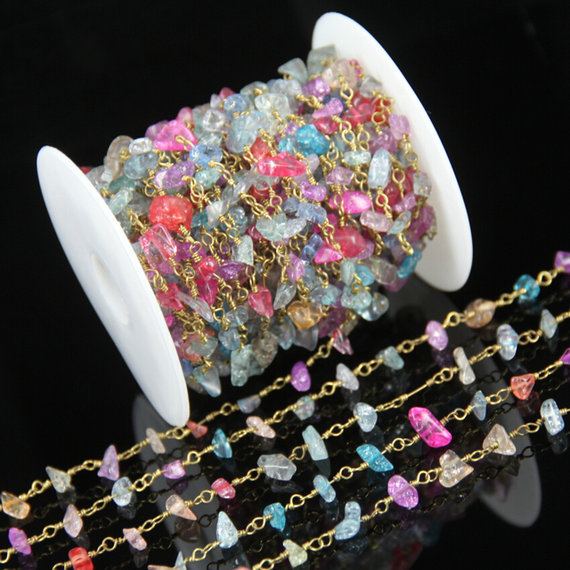 5 8mm Rainbow Glass Stone Chips Rosary Style Nuggets Beads Bulk