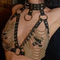 UYEE New Holographic Rave Bondage Collar Harness Body Bondage Dress Fetish Lingerie Women Belts Sexy Garters Burningman Fetish
