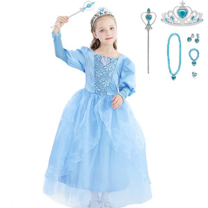 Image 3 - Girls Little Mermaid Princess Ariel Dress Up Dresses Kids Fancy Frock Role Playing Costume Birthday Party Wedding Flower Girl